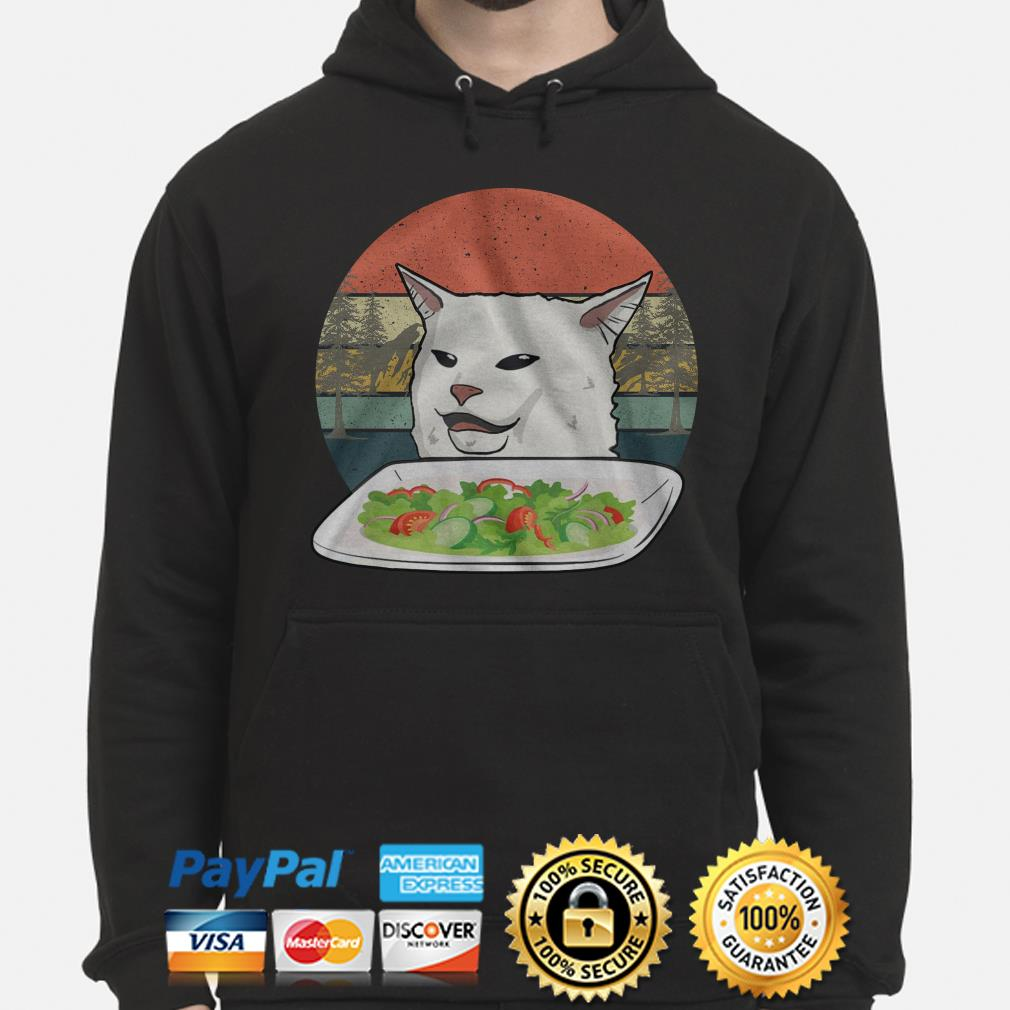 Angry women yelling at confused cat at dinner vintage Christmas hoodie