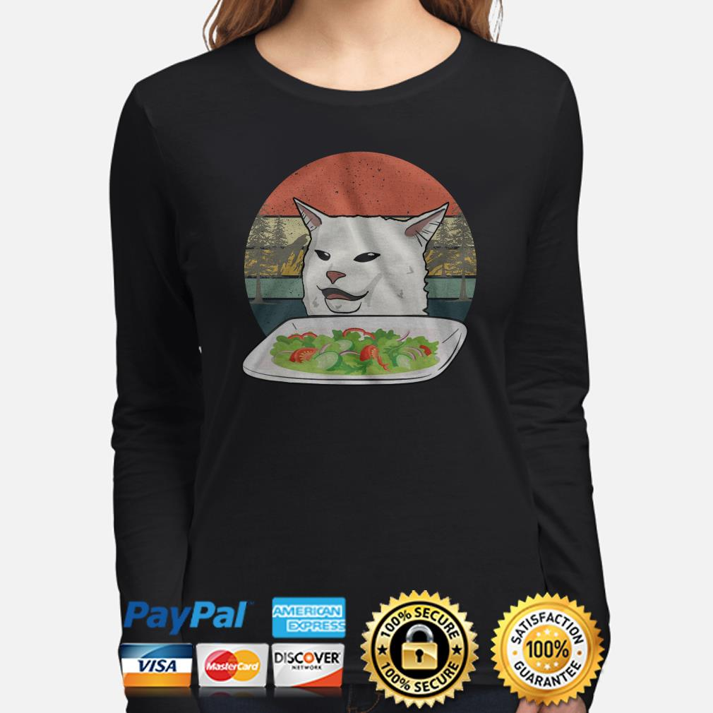 Angry women yelling at confused cat at dinner vintage Christmas long sleeve
