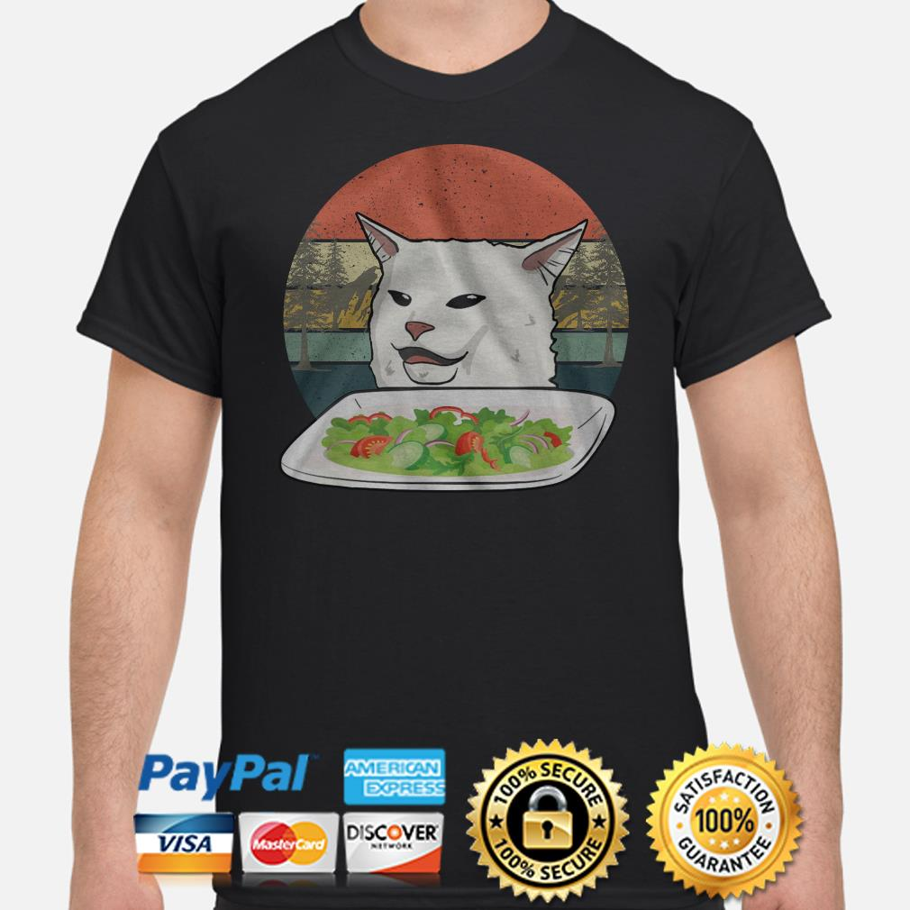 Angry women yelling at confused cat at dinner vintage Christmas T-shirt