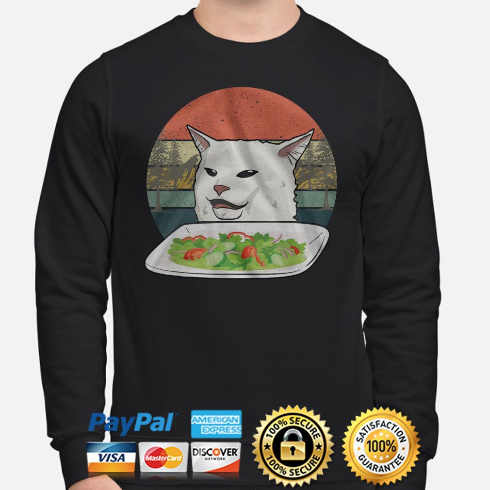 Angry women yelling at confused cat at dinner vintage Christmas sweater