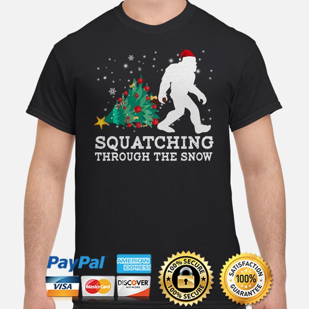 Bigfoot Christmas tree Squatching through the snow Christmas shirt