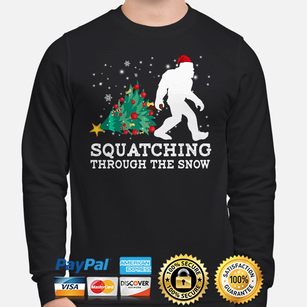 Bigfoot Christmas tree Squatching through the snow Christmas sweater
