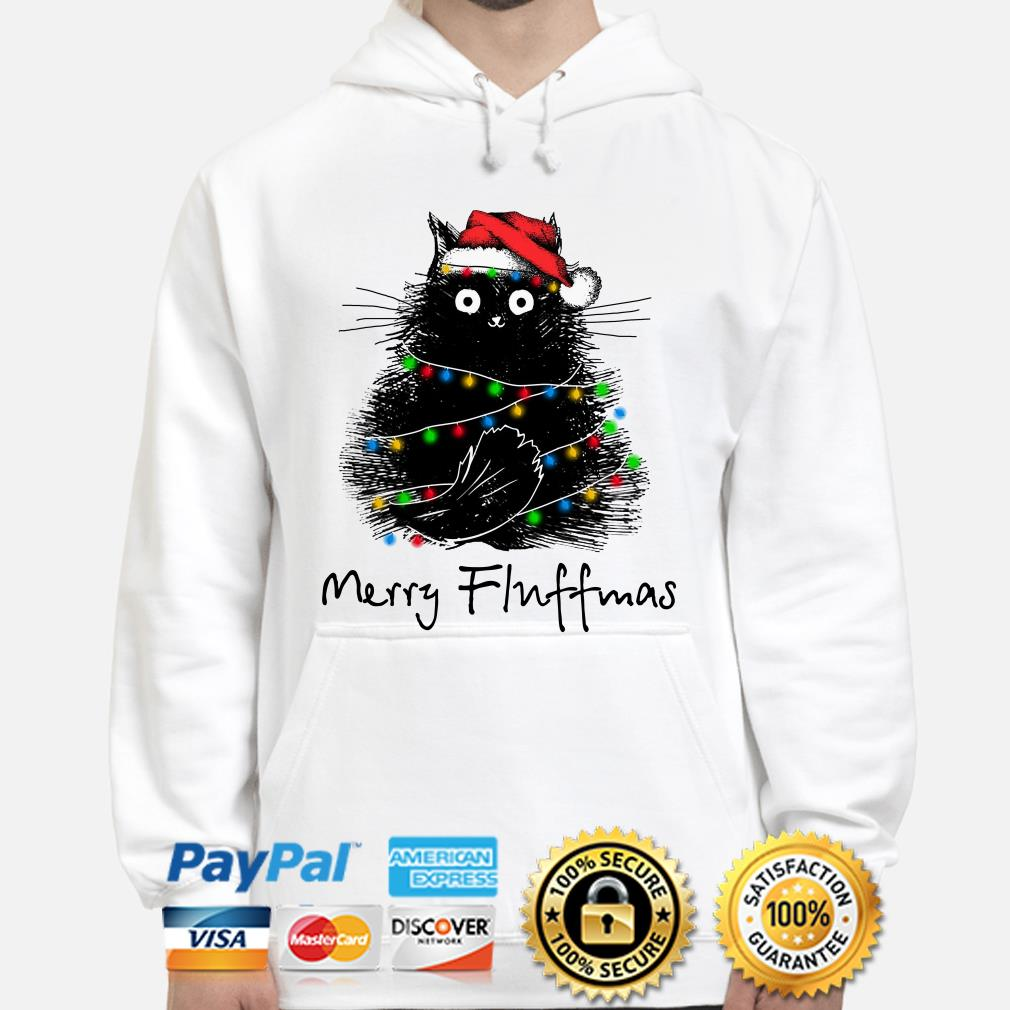 Black cat Merry Fluffmas Christmas hoodie