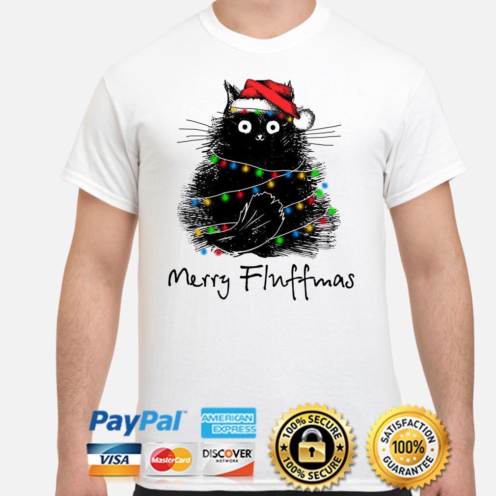 Black cat Merry Fluffmas Christmas t-shirt