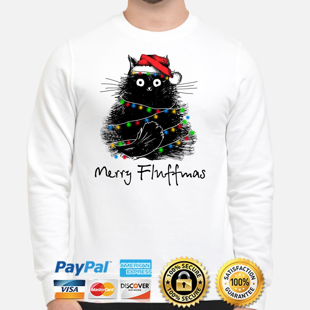 Black cat Merry Fluffmas Christmas sweater