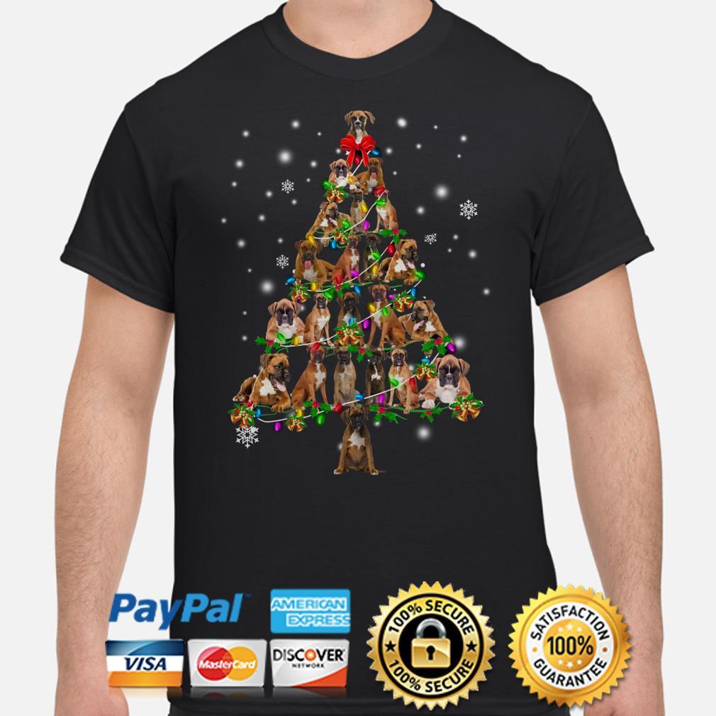 Boxer Christmas Tree Xmas t-shirt