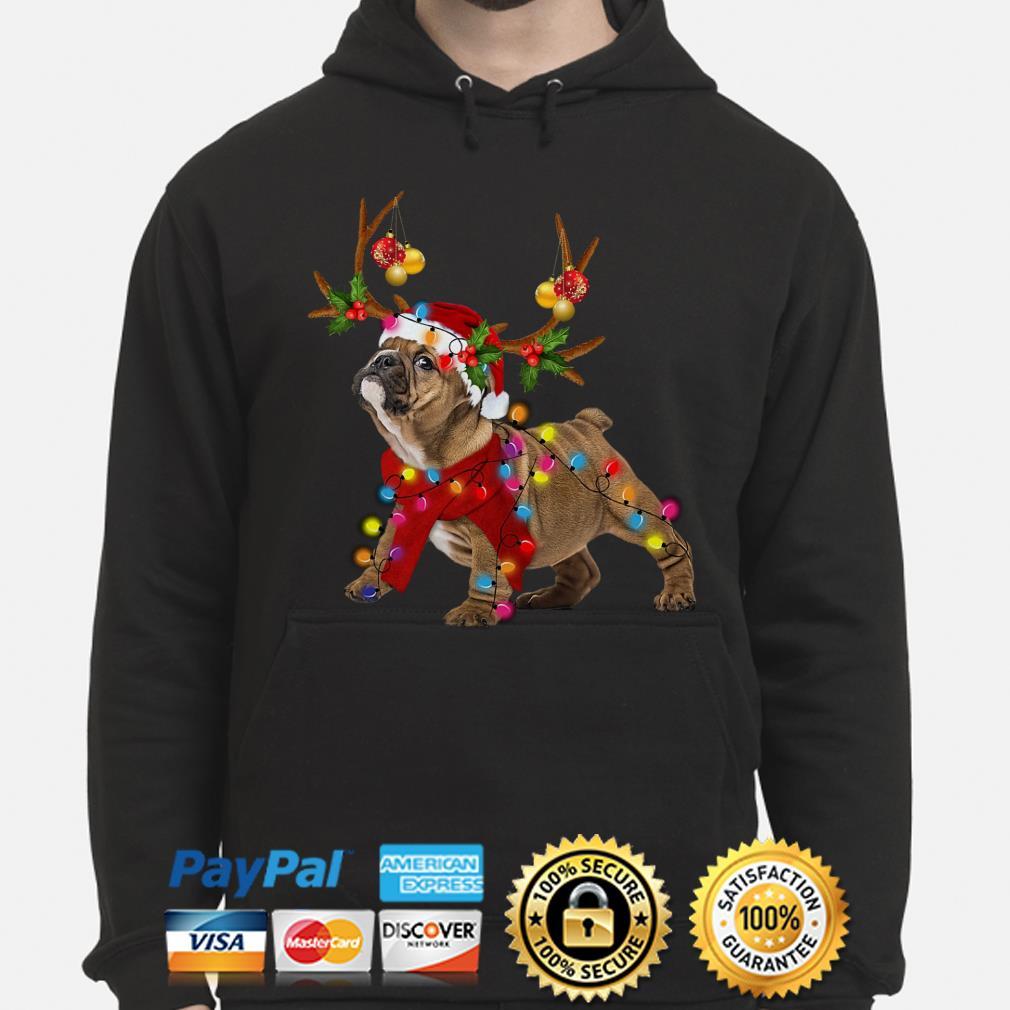 Bulldog gorgeous reindeer Christmas hoodie