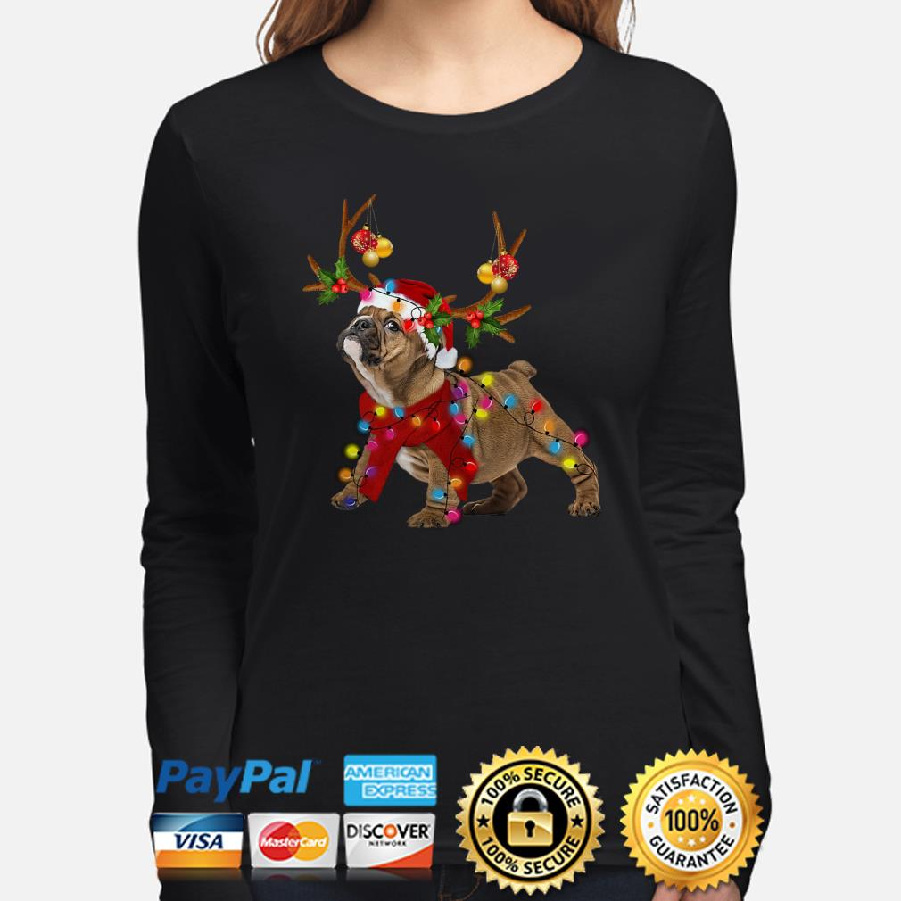 Bulldog gorgeous reindeer Christmas long sleeve