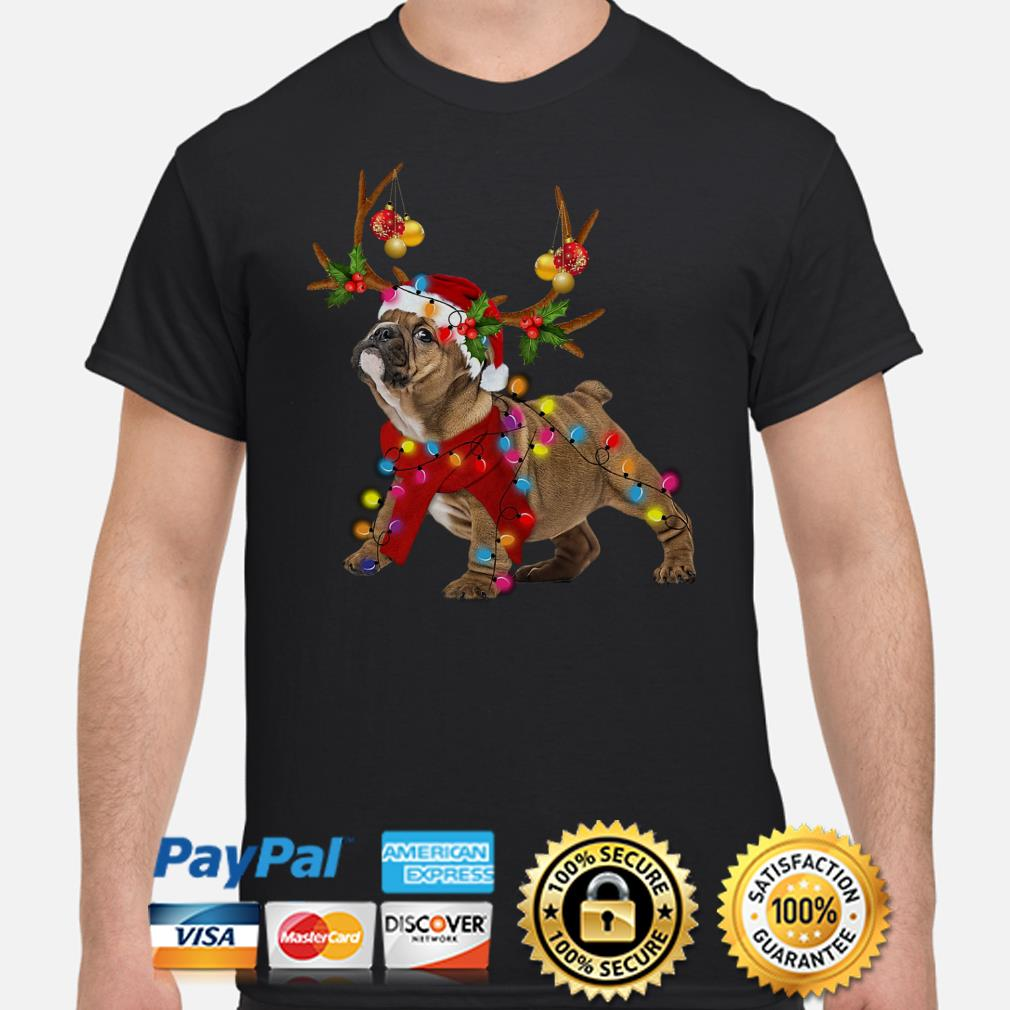 Bulldog gorgeous reindeer Christmas t-shirt