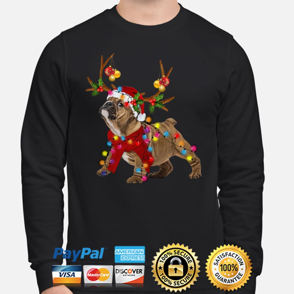 Bulldog gorgeous reindeer Christmas sweater