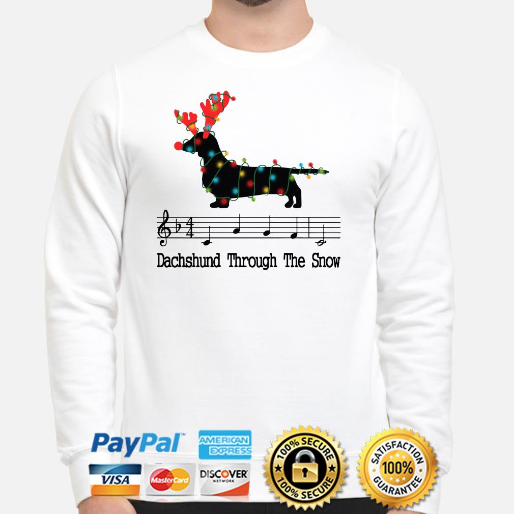 Dachshund through the snow music Christmas sweater
