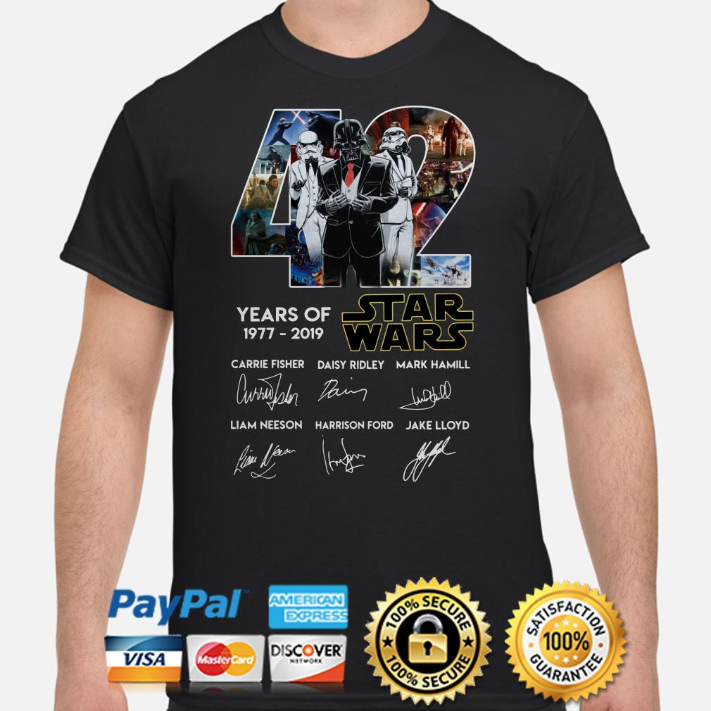 Darth Vader and Stormtrooper veston 42 years of Star Wars signature shirt