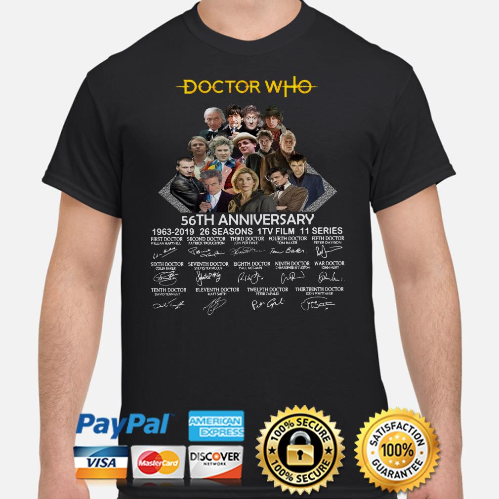 Doctor Who 56th Anniversary 1963 2019 signatures shirt