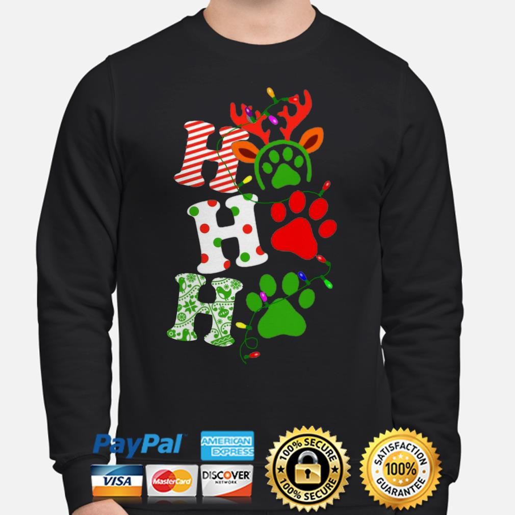 Dog Paws Ho Ho Ho Christmas lights sweater