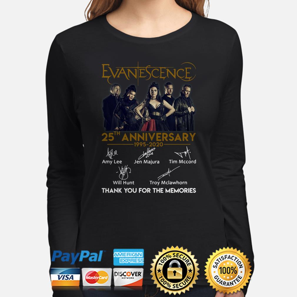 Evanescence 25th Anniversay thank you for the memories signature Long sleeve