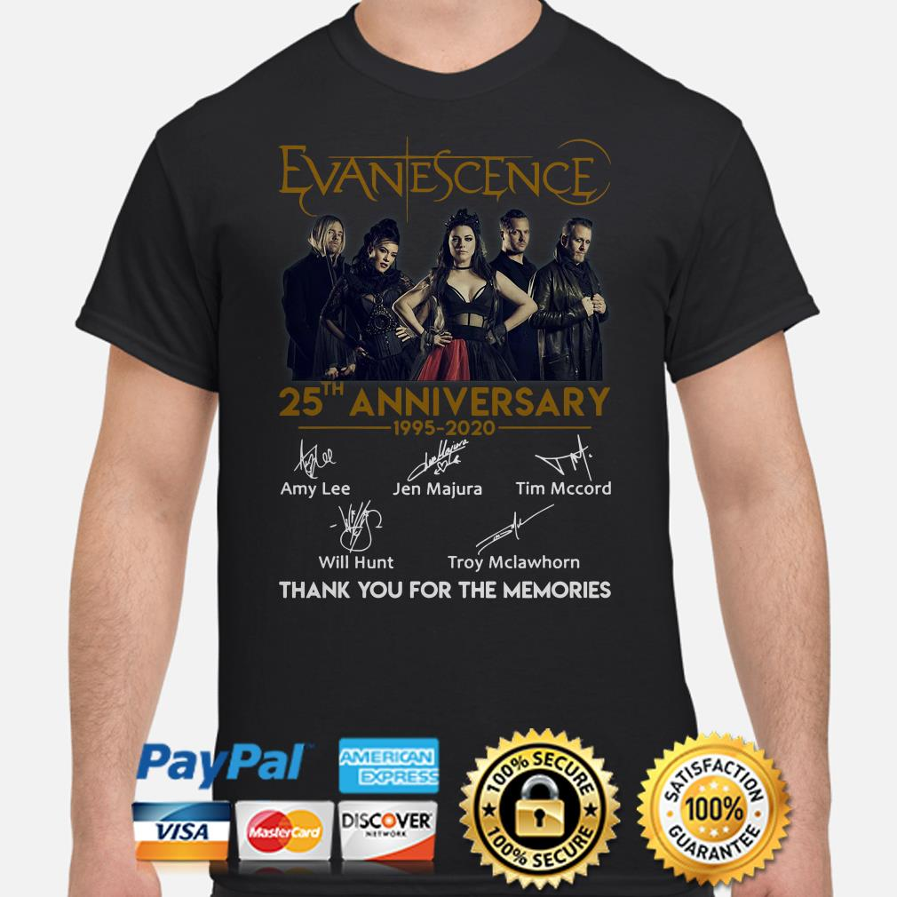 Evanescence 25th Anniversay thank you for the memories signature shirt