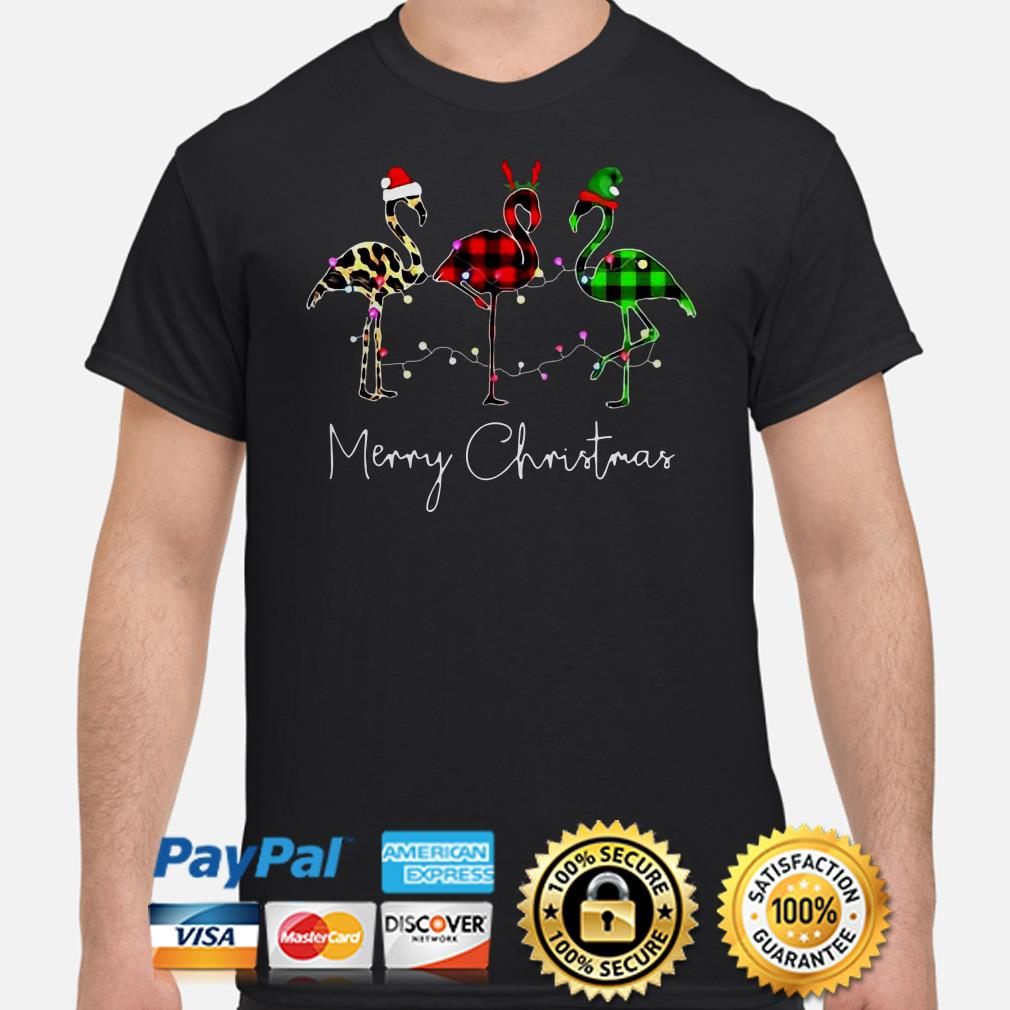 Flamingos Leopard buffalo plaid Merry Christmas t-shirt