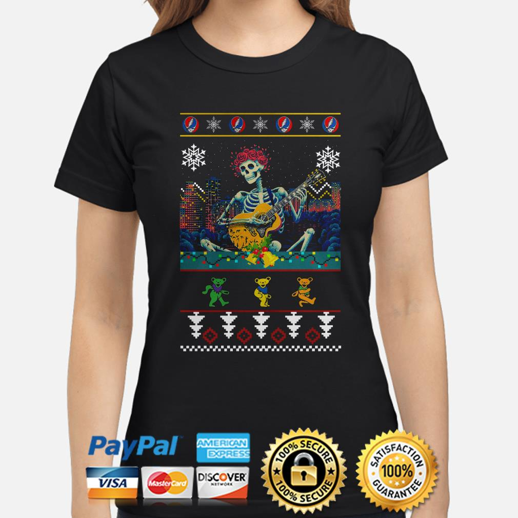 Grateful Dead guitarist skeleton dancing bears ugly Christmas ladies shirt