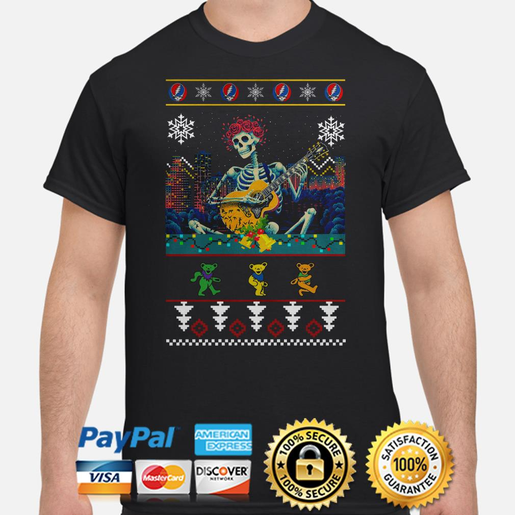 Grateful Dead guitarist skeleton dancing bears ugly Christmas shirt