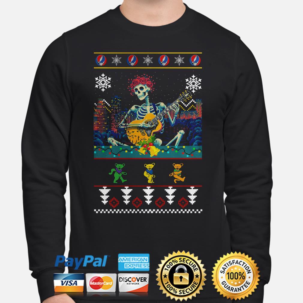 Grateful Dead guitarist skeleton dancing bears ugly Christmas sweater
