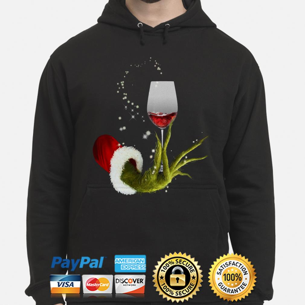 Grinch holding Red wine glass Christmas hoodie