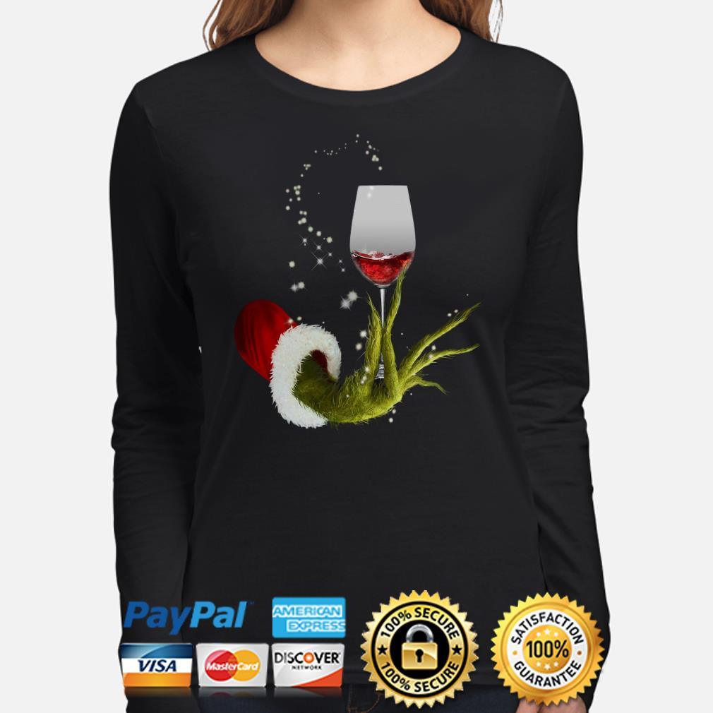 Grinch holding Red wine glass Christmas long sleeve