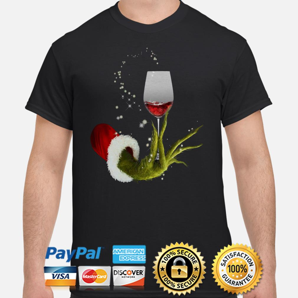 Grinch holding Red wine glass Christmas T-shirt