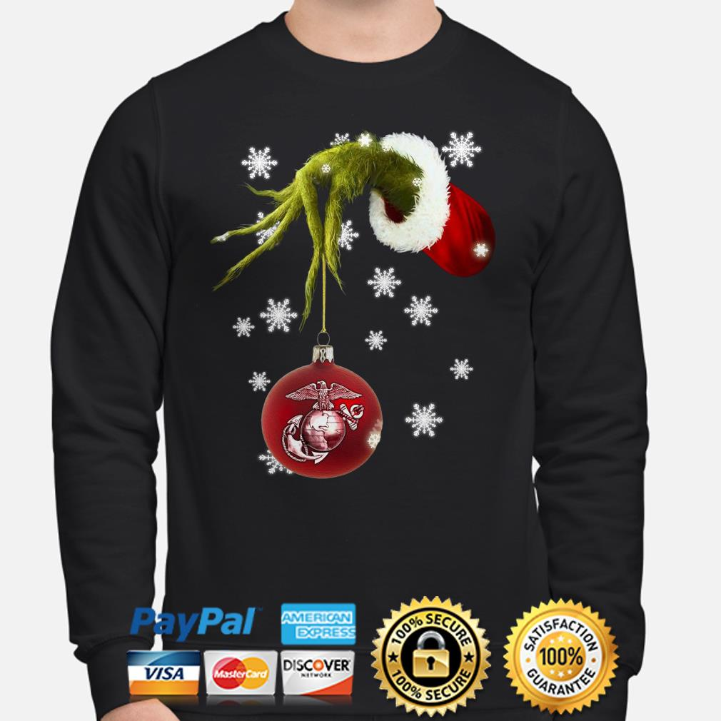 Grinch holding US Marines Ornament Christmas sweater
