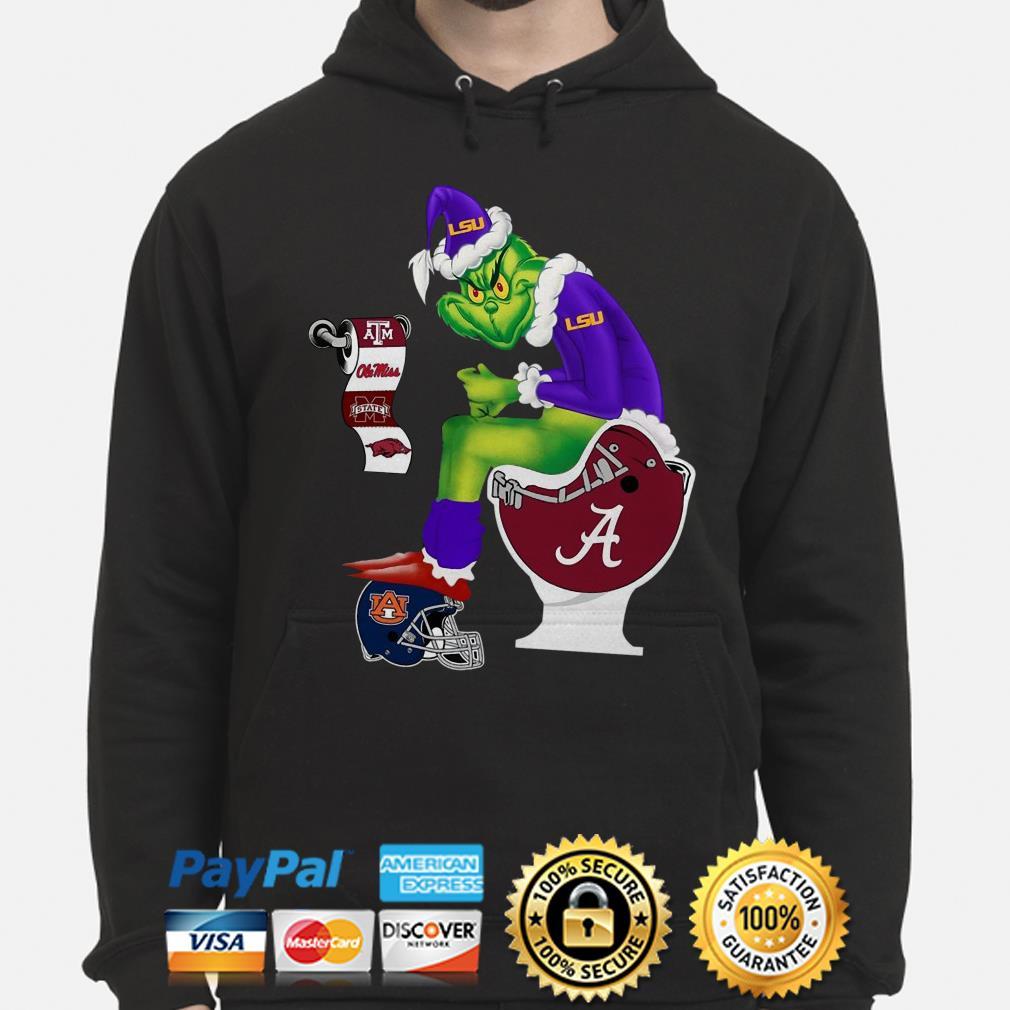 Grinch LSU sitting on Alabama Crimson Tide toilet Christmas hoodie