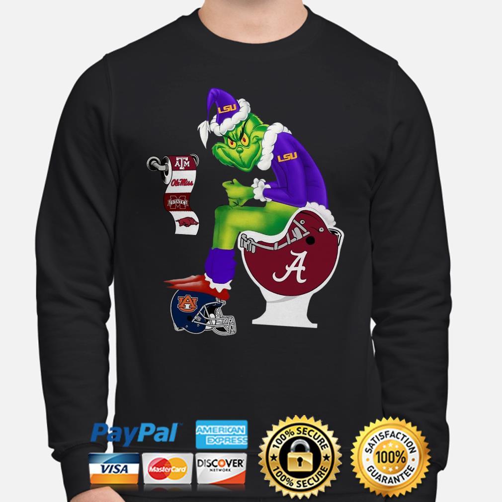 Grinch LSU sitting on Alabama Crimson Tide toilet Christmas sweater