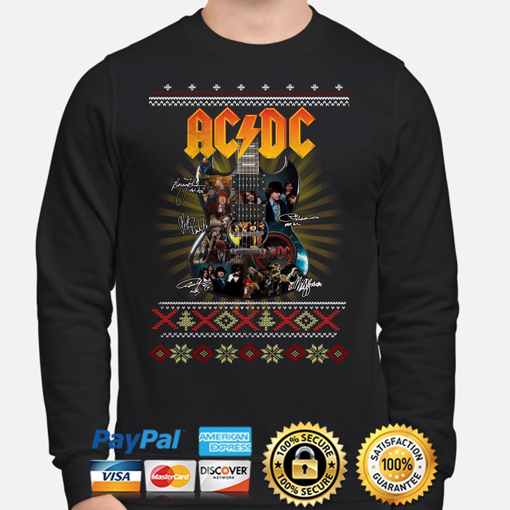Guitar AC DC signatures ugly Christmas sweater