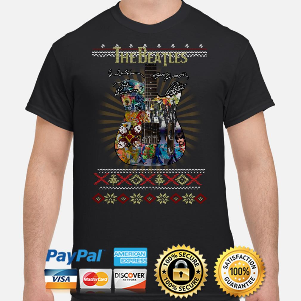 Guitar The Beatles signature ugly Christmas t-shirt