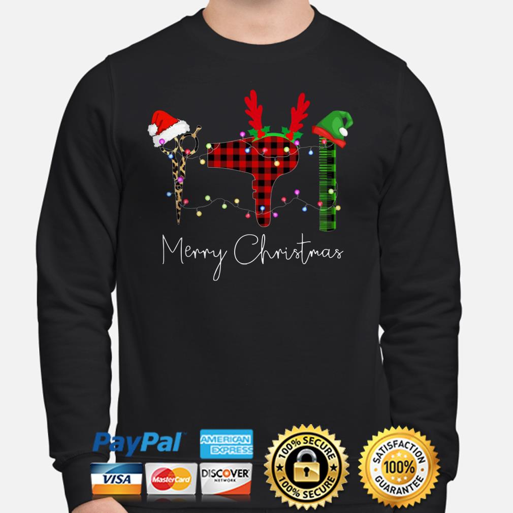 Hair Stylist Christmas lights Christmas sweater