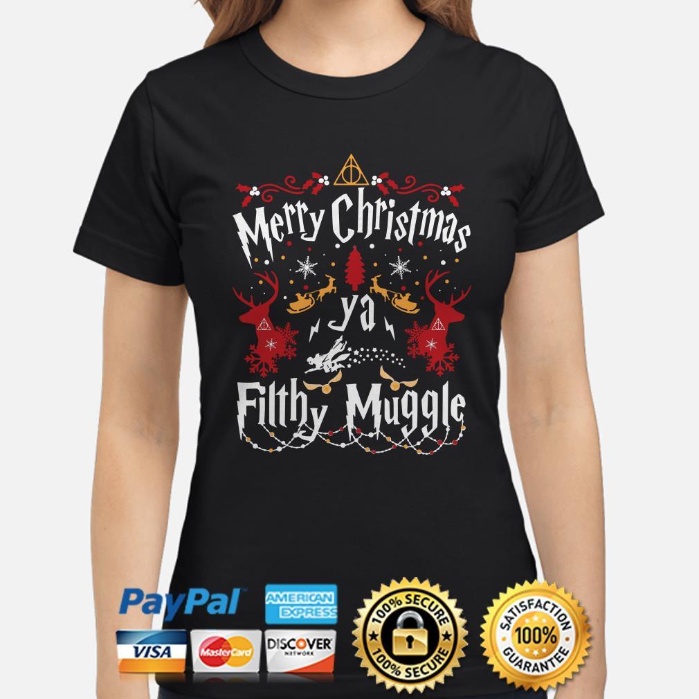 Harry Potter Merry Christmas ya Fillhy Muggle Christmas ladies shirt