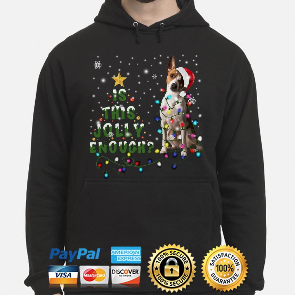 Jack russell is this Jolly enough Christmas lights Hoodie