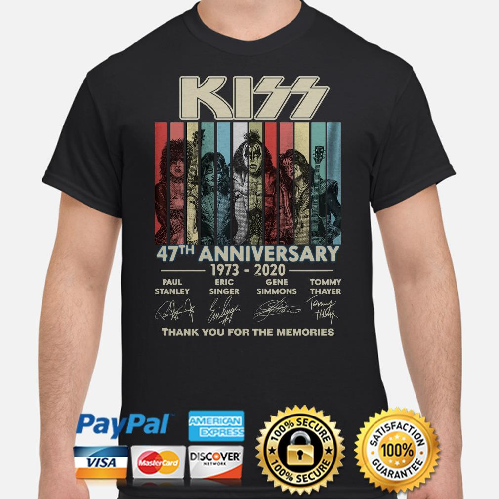Kiss 47th anniversary thank you for the memories vintage shirt