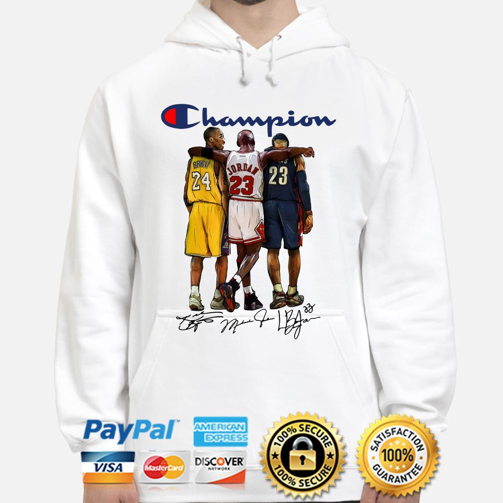 Kobe Bryant, Michael Jordan and Lebron James Champions signature Hoodie