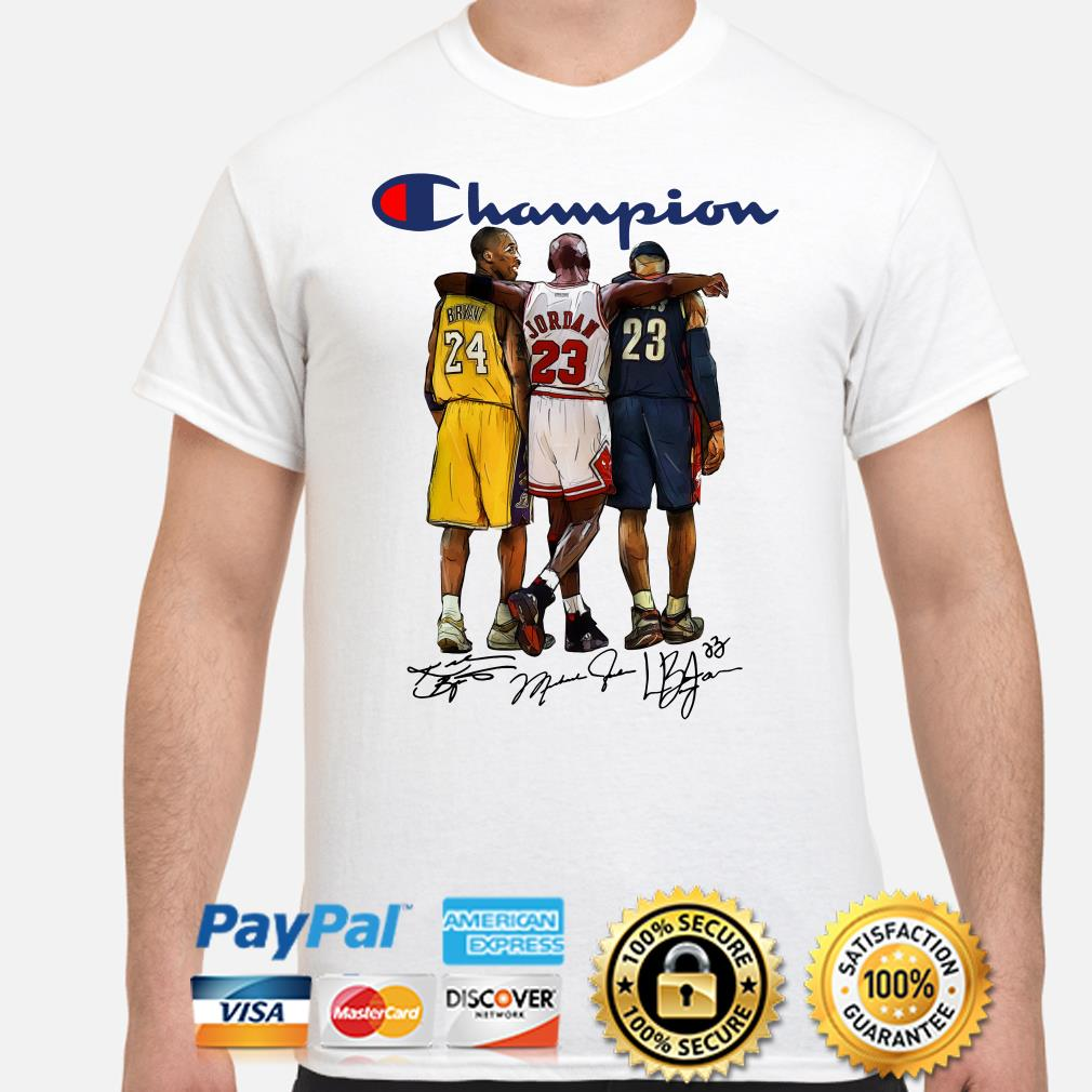Kobe Bryant, Michael Jordan and Lebron James Champions signature shirt