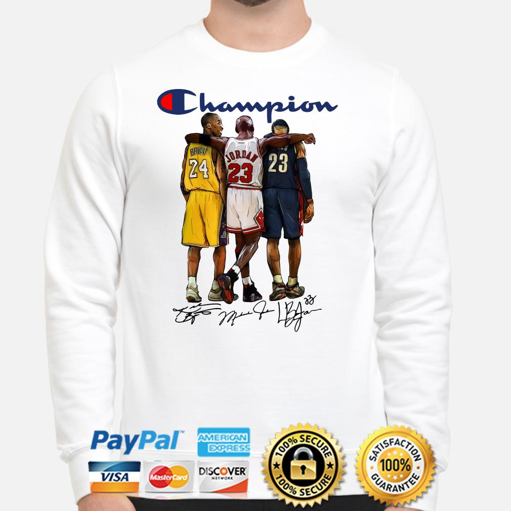 Kobe Bryant, Michael Jordan and Lebron James Champions signature Sweater