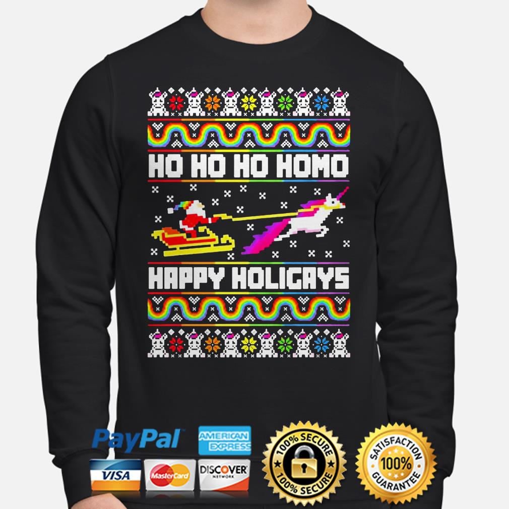 LGBT Santa riding Unicorn ho ho ho homo happy holigays Christmas sweater