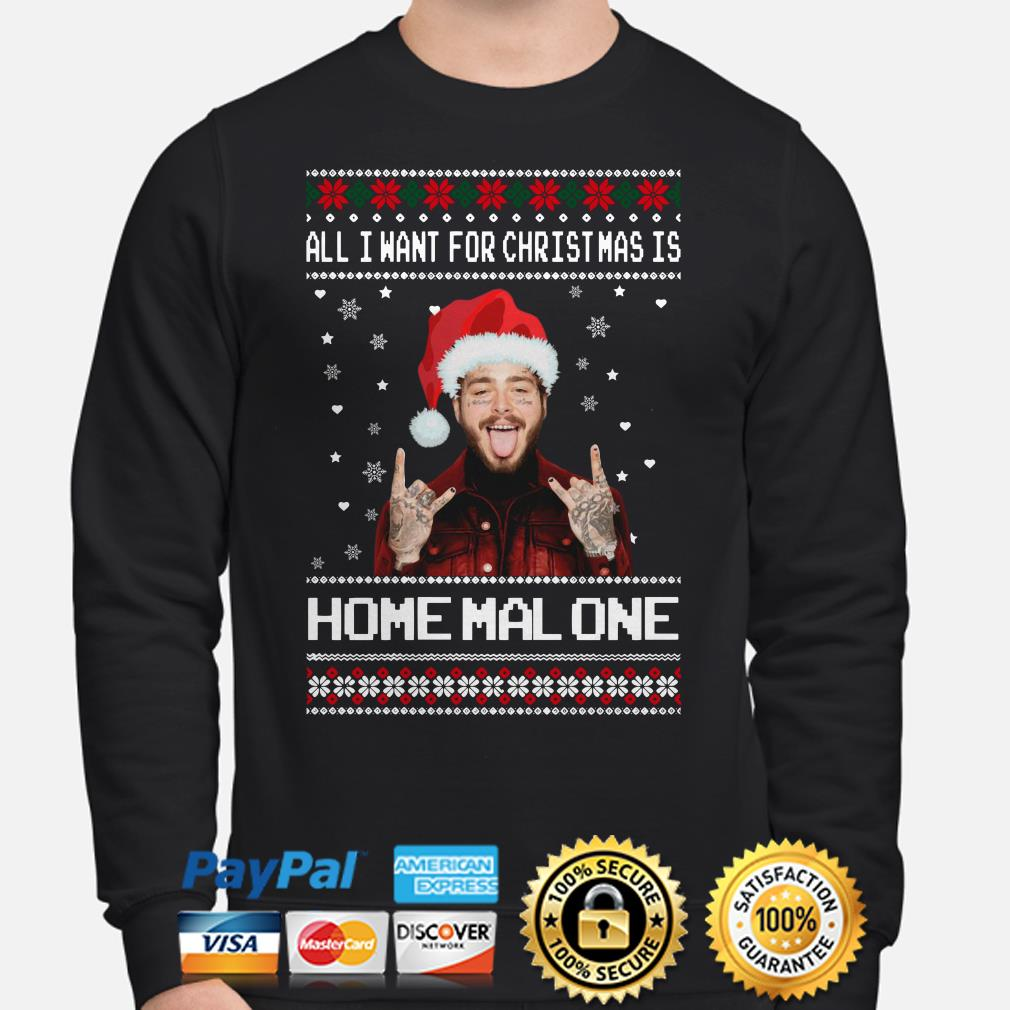 Post Malone All I want for Christmas is Home Malone ugly sweater