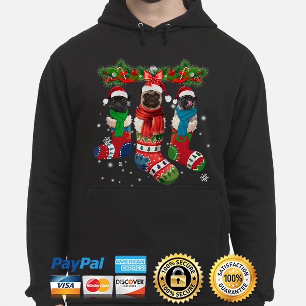 Pug in socks Christmas hoodie