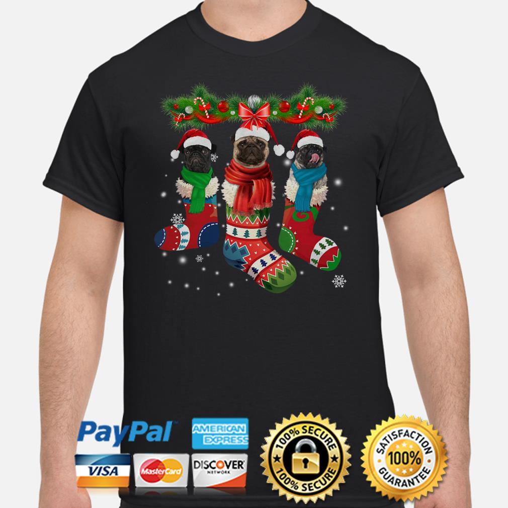 Pug in socks Christmas shirt