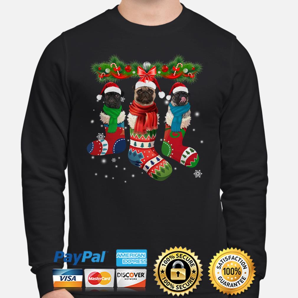 Pug in socks Christmas sweater