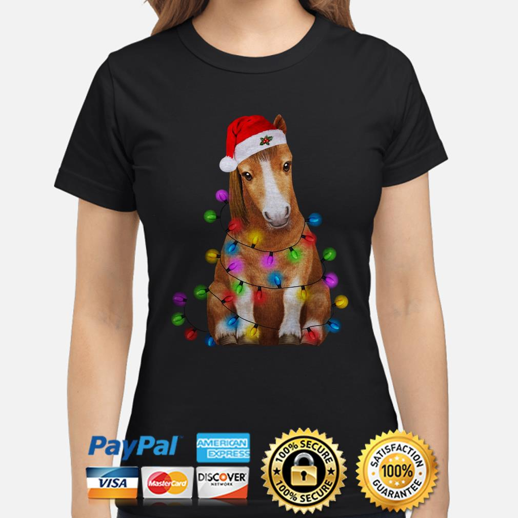 Santa Claus Donkey Christmas lights ladies shirt
