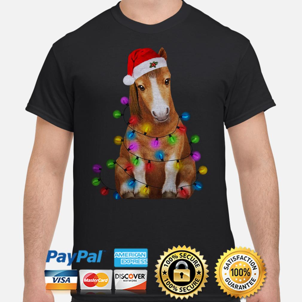 Santa Claus Donkey Christmas lights shirt