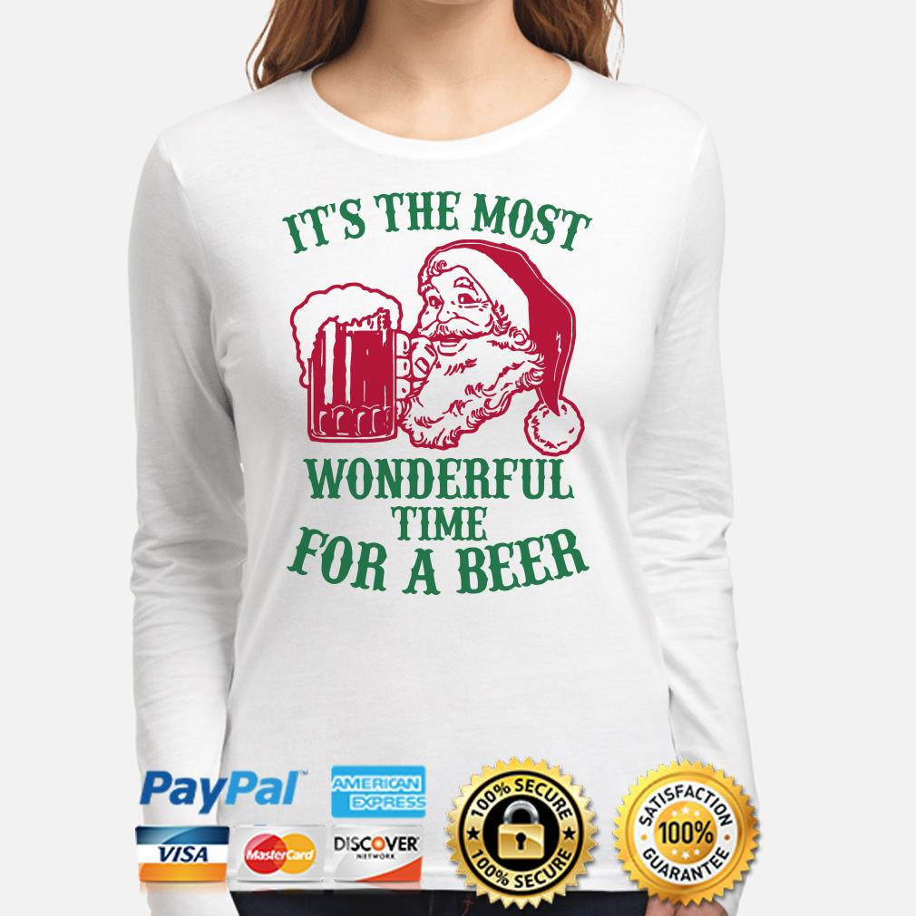 Santa Claus it's the most wonderful time for a beer Christmas long sleeve