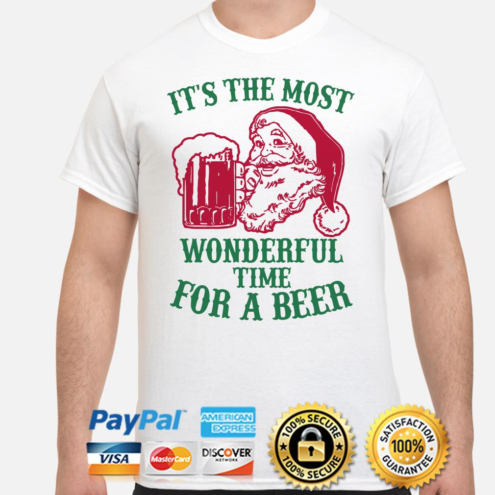 Santa Claus it's the most wonderful time for a beer Christmas t-shirt