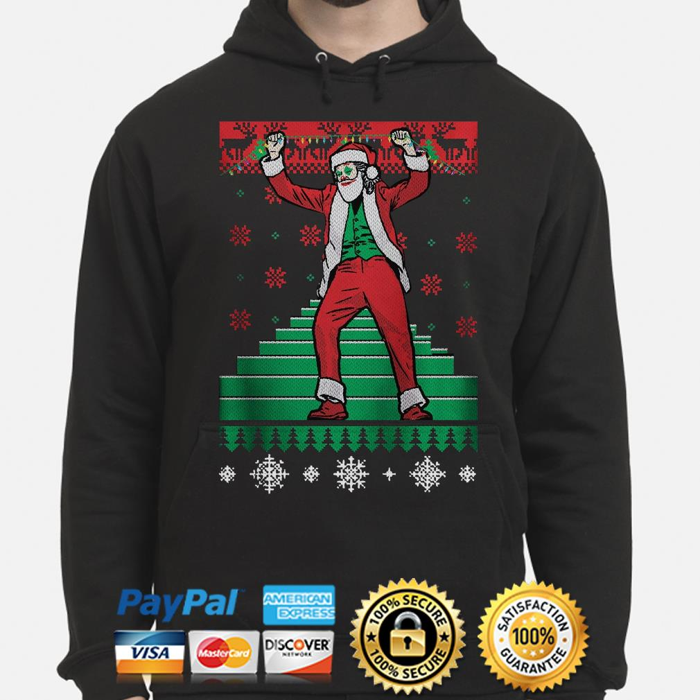 Santa Claus Joker dance stairs ugly Christmas hoodie