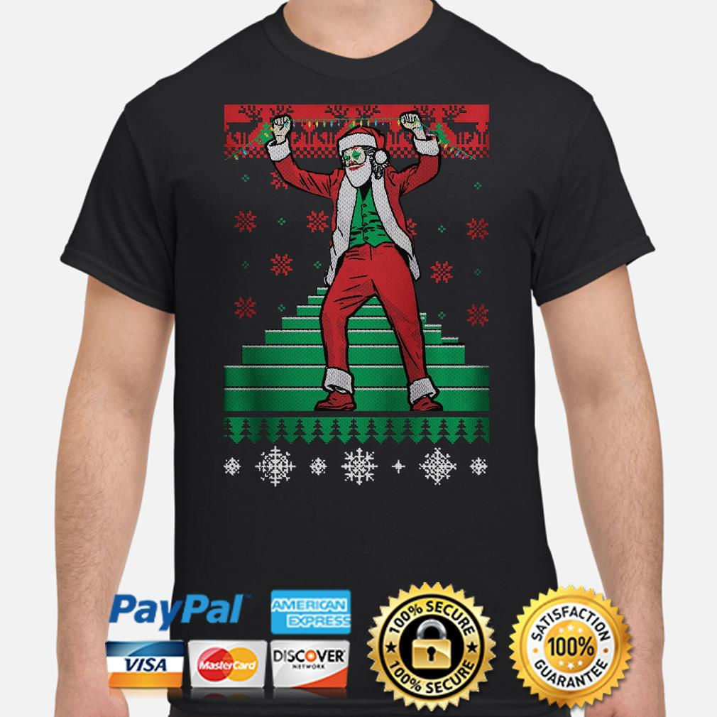 Santa Claus Joker dance stairs ugly Christmas t-shirt
